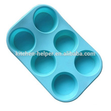FDA Easy Washing Food Grade Silicone 6Cup Muffin Cupcake Cake Liners Baking Pan Ice Mold Silicone Flexible Baking Muffin Pan