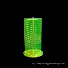 Soportes de pantalla giratoria de acrílico de mesa con ganchos