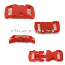 """Bracelete Paracord 3/8 """"curvado plástico vermelho fivela de liberação lateral"""
