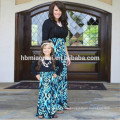 2017 nueva moda larga familia seelve ropa a juego mami y yo vestidos vestidos de la hija de la madre Vestidos