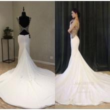 Настоящая Атласная Бисероплетение Русалка Вечерние Платья Свадебное Платье Вечернее Платье