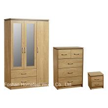 Conjunto de móveis de quarto de 3 peças com armário espelhado (DB18)