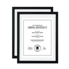 Custom High Quality11x14  Creative Black Document Certificate Diploma Wood 3D Floating Double Glass Display Picture Photo Frame