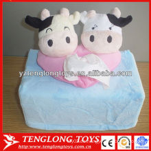Cubierta de la caja del tejido de la felpa de la forma de la vaca del diseño creativo