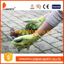 Green Nylon Flower Design Shell Transparent Nitrile Coating Gloves Dnn356