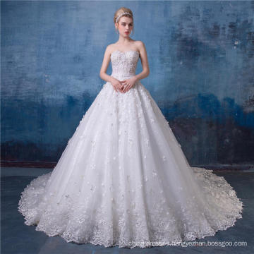 Beaded Embroidered Strapless Wedding Dress Bridal Gown 2017 HA570