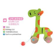 Madeira giraffe puxar e empurrar brinquedo madeira brinquedo puxar para crianças