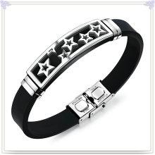 Stainless Steel Jewelry Leather Bracelet Silicone Bracelet (LB593)