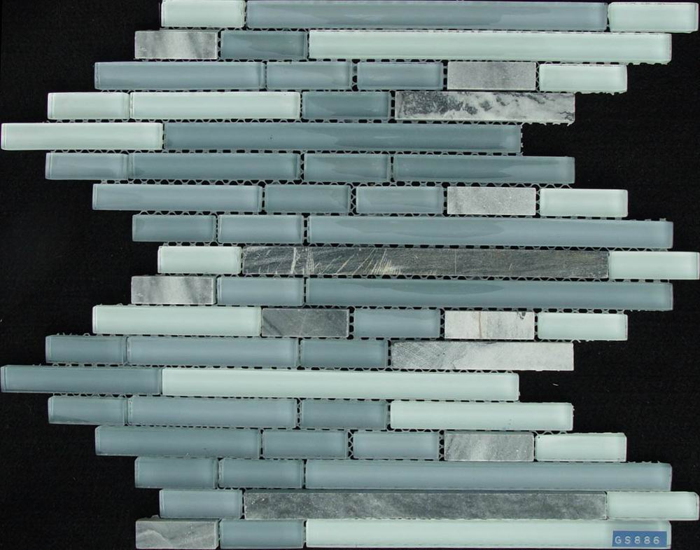 Gray Strip Glass And Stone Mixed Mosaic Tile