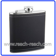 Stainless Steel Hip Flask with Leather Wrapped (R-HF055)