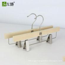 popular laminated wood pants hanger trounser metal clips hangers