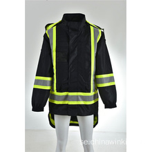 Hi Vis Class 3 Hooded Bomber Winter Safety Jacket Reflekterande Vattentät
