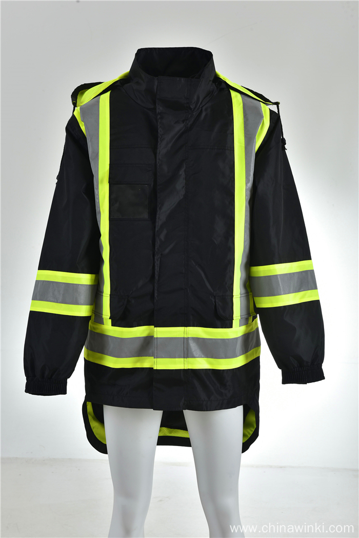 Hi Vis Class 3 Hooded Bomber Winter Safety Jacket Reflective Waterproof