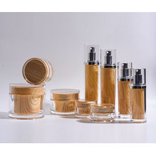 15m-130ml Cylinder Plastic Acrylic Lotion Bottle and Jars with Wood Like Printing