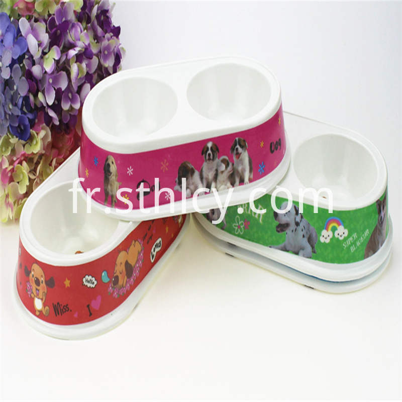Stainless steel double bowl cat drinking bowl