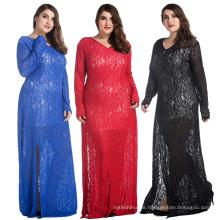 Arbeiten Sie heißes verkaufenfrauendamekleid plus Größe Langärmel der formalen Kleider aushöhlen Spitzekleid aus