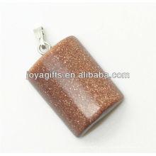 Semi precioso ouro pingente de pedra retângulo com alta qualidade