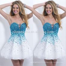 2014 Robes de soirée blanche et bleue à bière avec Robe de soirée à la mode et soirée à la mode Robe de soirée courte A-Line NB0467