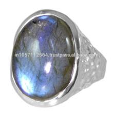 Gemstone Natural da Labradorite com anel de design de prata esterlina de prata 925