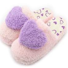 2019 hot sale full season women in-door slippers candy color cotton plush in-door slippers with heart shape decoration