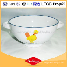News ceramic bowl with cute duck design with two handles for BS120808B