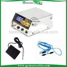 Blanco acero inoxidable dual LCD medidor tatuaje fuente de alimentación