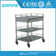 SF-DJ136 hospital de uso 3 niveles de acero inoxidable carrito de emergencia