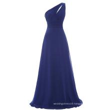Starzz One shoulder Navy Blue Chiffon Long Bridesmaid Dress ST000071-3