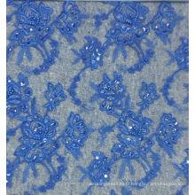 Vente en gros Tissu en dentelle en perles Broderie en dentelle de haute qualité avec strass No.CAC411B