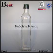 Flacon en verre de 500ml avec double bouchon pour le whisky