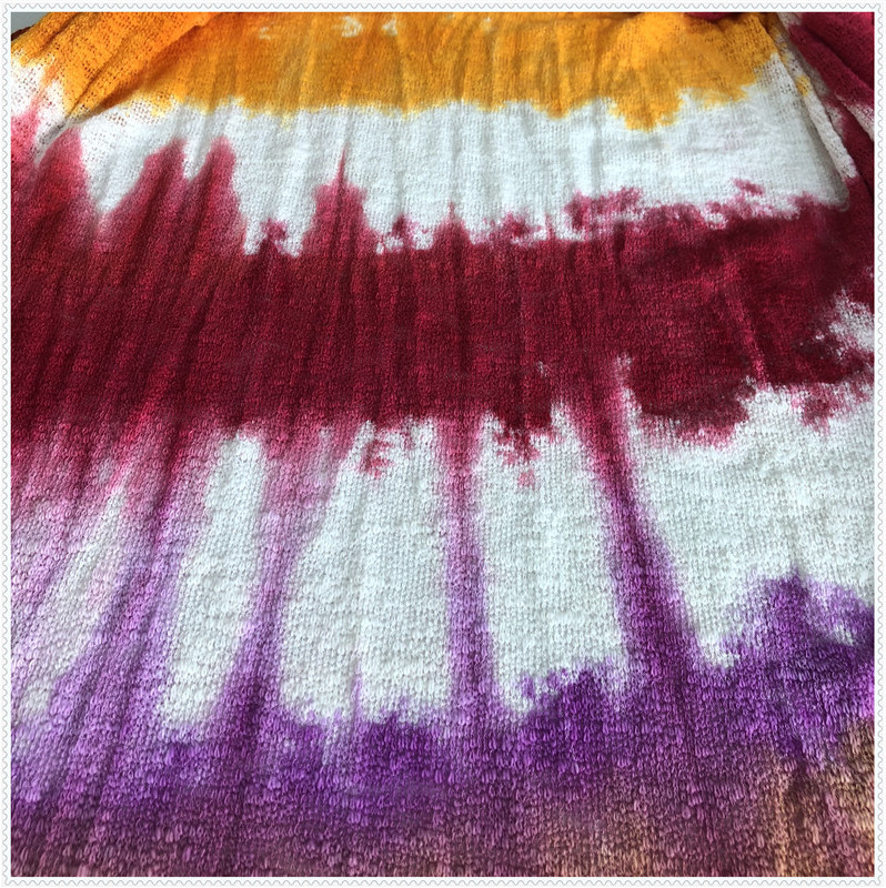 Bright-colored tie dyed hacci
