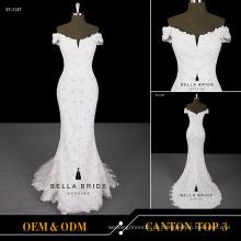 2017 Reißverschluss zurück Hochzeitskleid off-the-Schulter Meerjungfrau V Ausschnitt Brautkleid