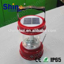Portátiles fuente verde llevó linterna solar cargador de radio / solar manivela de la lámpara