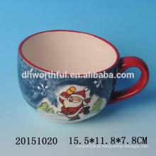 2016 venda de fábrica de cerâmica copos de café de cerâmica com pintura santa