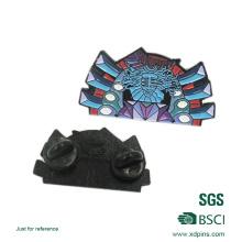 Épinglette en émail noir en nickel avec tampon arrière