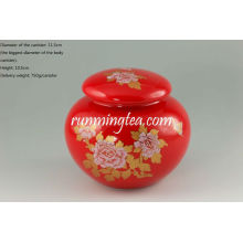 Red Vivid peony painting tea canister/caddy/coffee canister