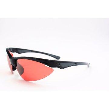 Semi-Rimless gafas de sol negro brillante con lentes marrones para los deportes-16307