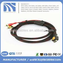 Câble AV haute qualité 5 pieds 1.5M HDMI à 3RCA 3 RCA Audio AV