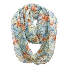 Lady Fashion Flower Printed Polyester Chiffon Infinity Summer Scarf (YKY1106)