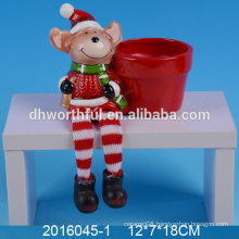 Cute mini christmas flower pots ceramic deer planter for wholesale