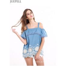 Frauen Stitching Lace Volants Hem bestickt trägerlosen Tops Wavy Harness lose Fashion Shirt Bluse