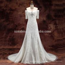 2017 perles de dentelle en tulle et satin A-line robe de mariée avec de vraies images