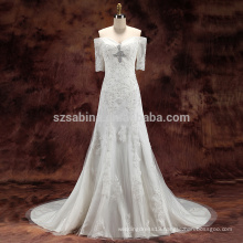 2017 lace beads tulle and satin A-line wedding dress with real pictures