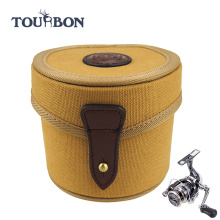 Tourbon Canvas and Genuine Leather Fly Fishing Reel Case /fishing box tackle case