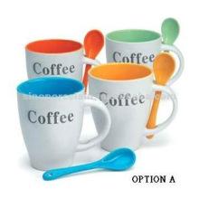 Clásica taza de cerámica con cuchara con logotipo de café para BS06100