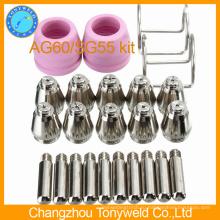 Компания AG-60 воздуха плазменный резак SG55 запасных комплектующих частей комплект 24шт пакет