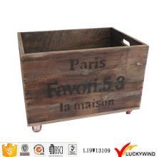 Recicl, vindima, fruta, madeira, crate, rodas