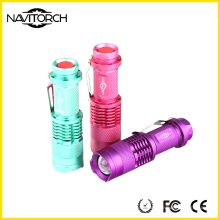 Multi Farben 3 Modi fluoreszierende Aluminium Taschenlampe / LED Taschenlampe (NK-671)