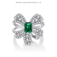 Bow Ring Female 925 Sterling Silver Finger Ring Artificially Inlaid with Artificial Diamonds to Cultivate Emerald Classic Female Jewellery