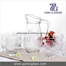 Ensemble d'eau en verre 7PCS avec rose gravé
